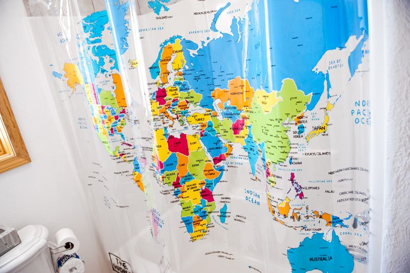 Shower curtain map -Saw this in someone\'s home - great for the ...