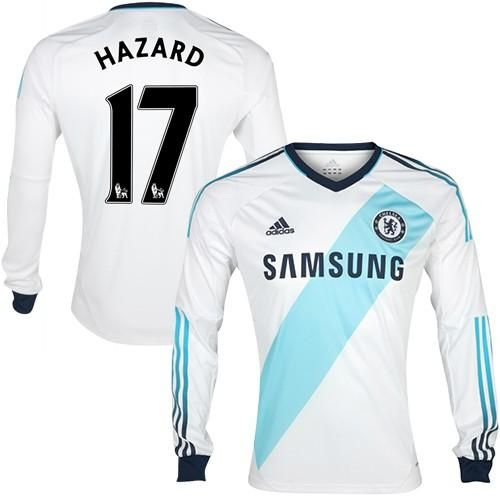 sports shoes 11f35 099d9 Chelsea #17 Eden Hazard White Long Sleeves Away Soccer Club ...