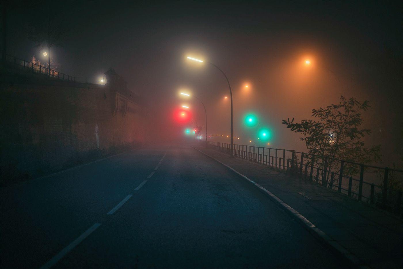 What The Fog 4 A M On Behance Fog Photography Street Photography Night Photography Dark street night fog light mist
