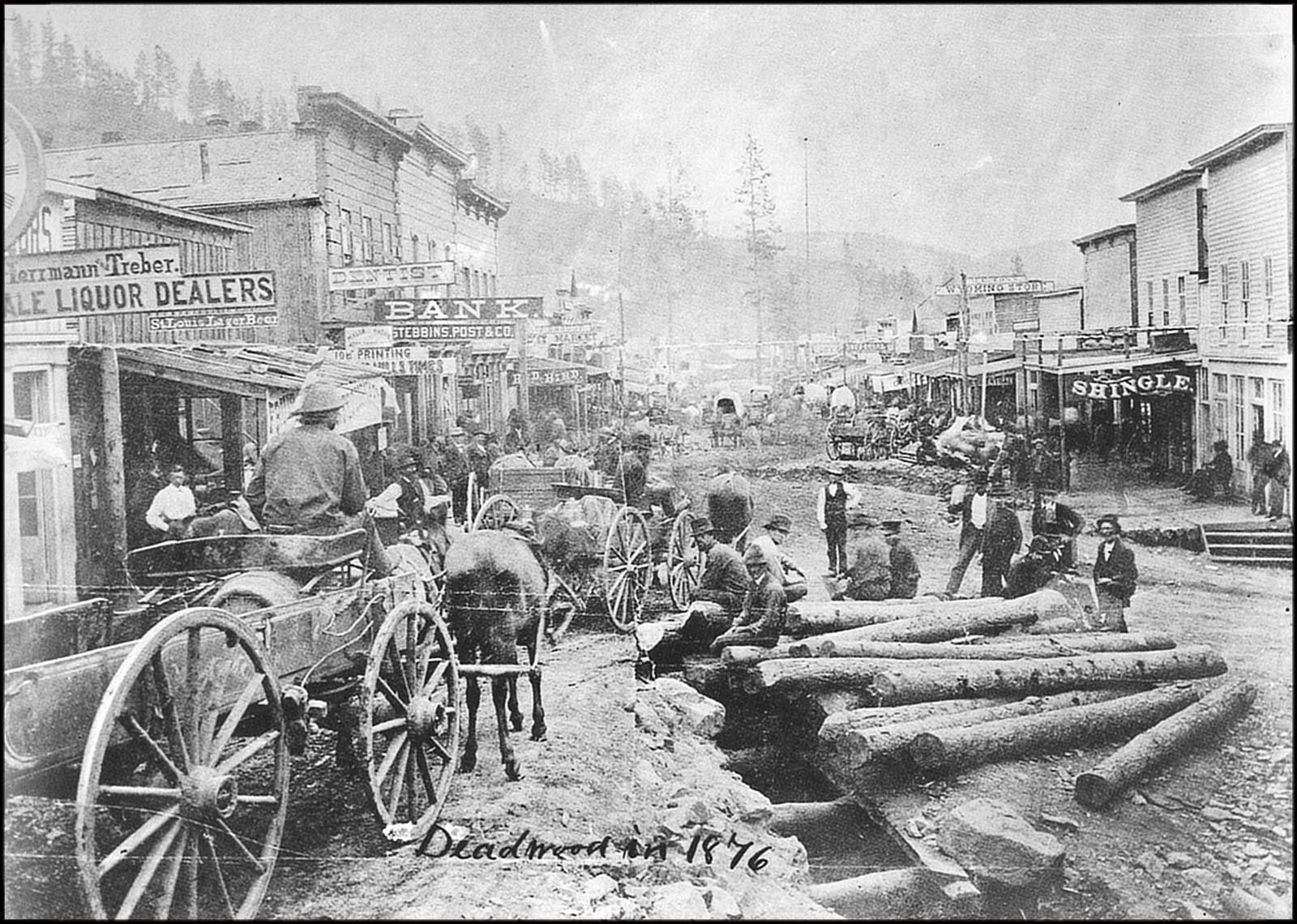American Old West Busy Main Street In 1876 The Frontier