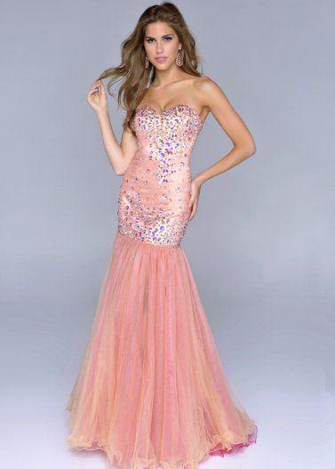 Beaded Mesh Peach Mermaid Prom Dresses 2014 | Prom dresses ...