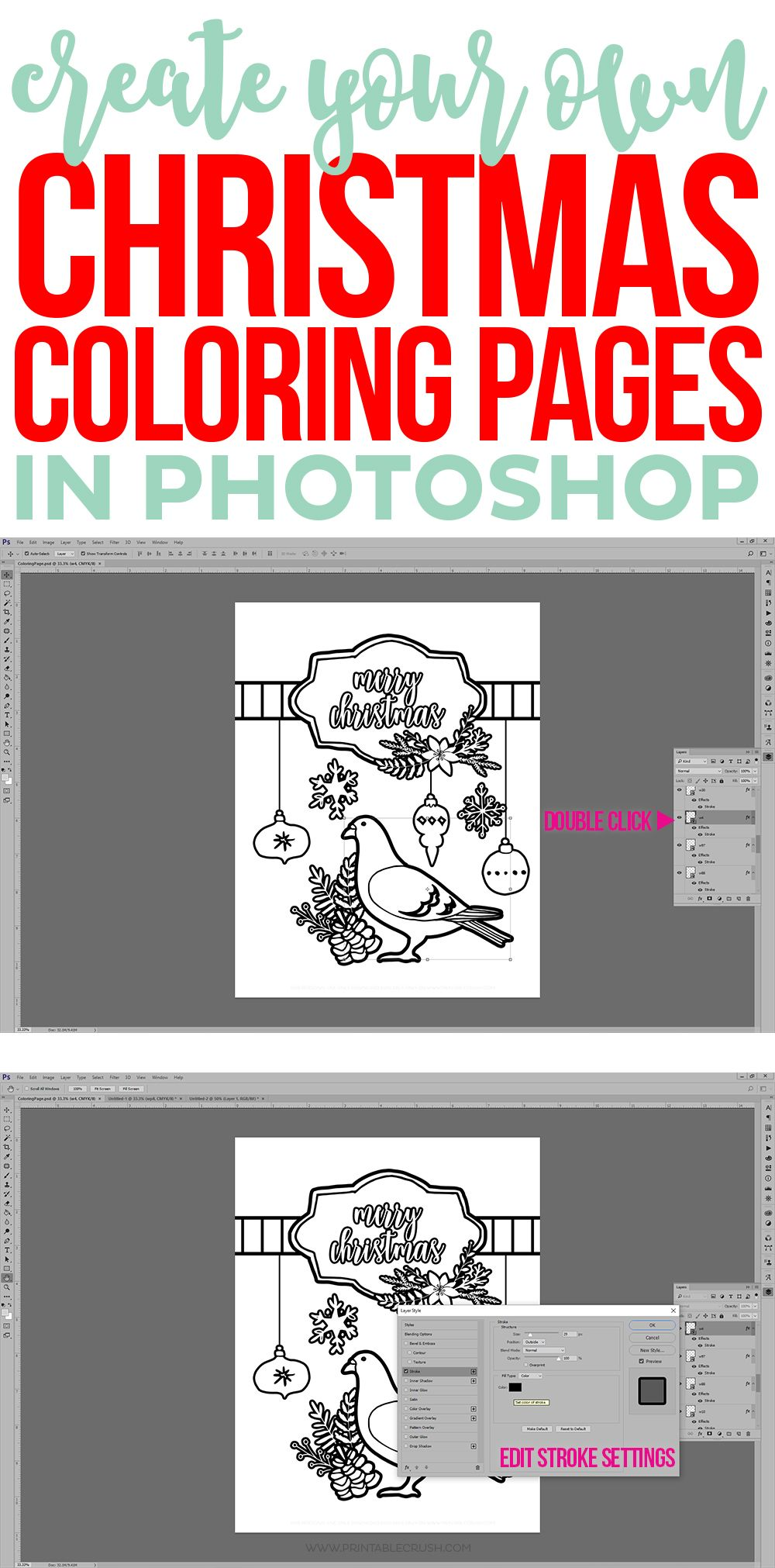learn to create christmas coloring pages in photoshop in this