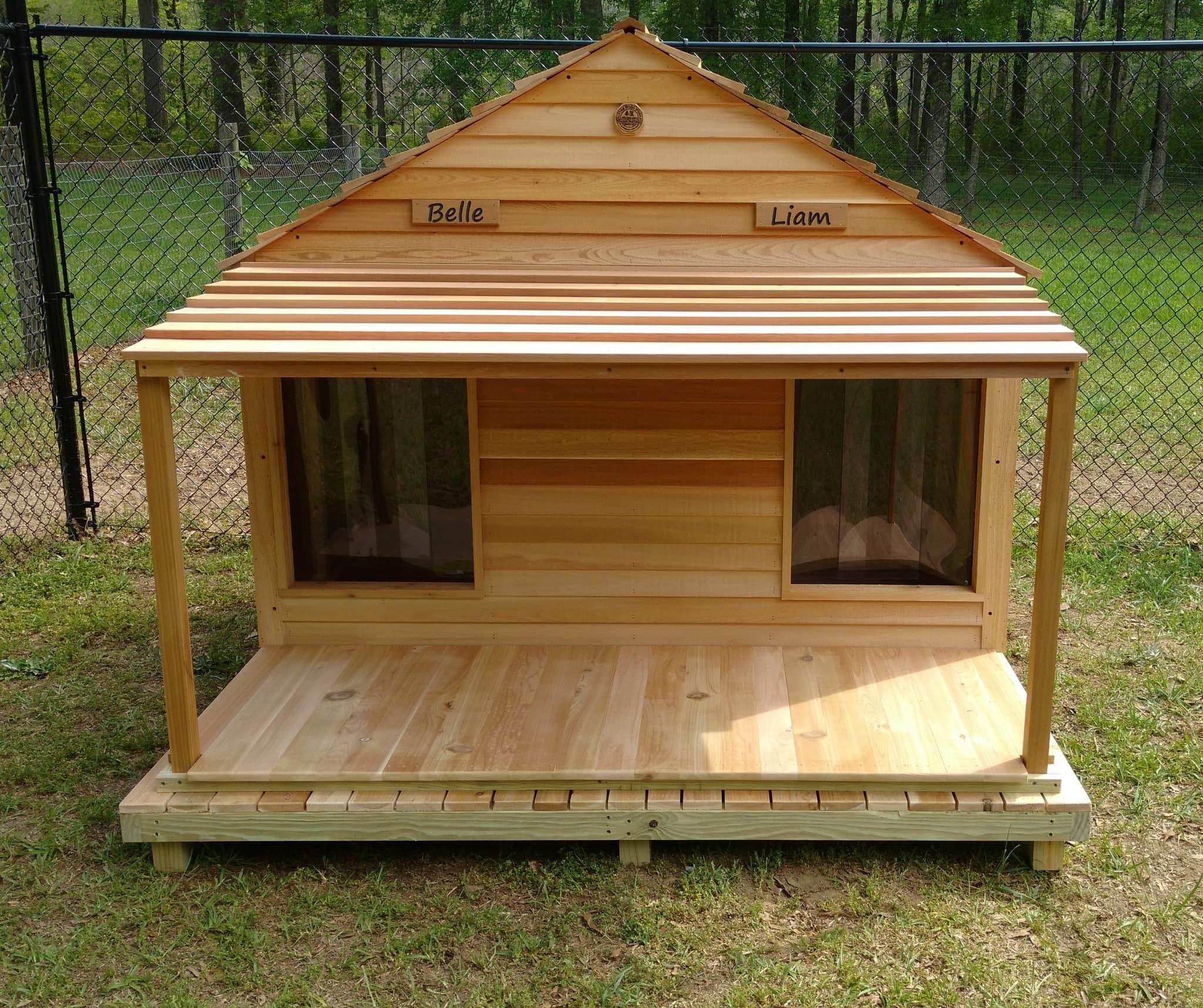 Goliath Duplex Dog House Custom Cedar Dog House for 200 lb Dogs