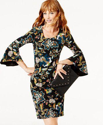 Anna Sui Loves INC International Concepts Bell-Sleeve Sheath Dress, Created for Macy's | macys.com