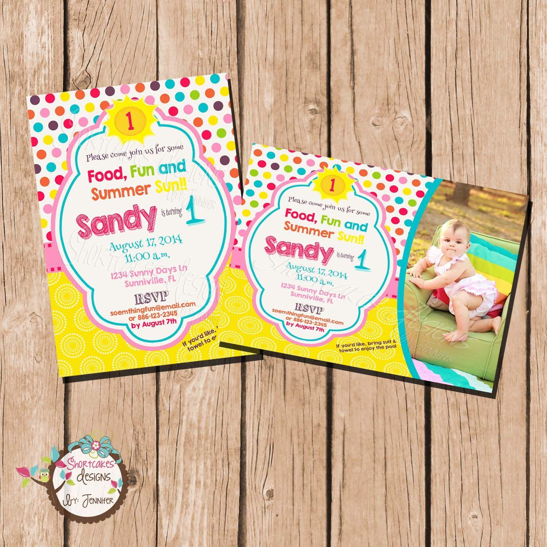 Fun in the Sun Bright colors Invitations   1st Birthday CELEBRATIONS ...