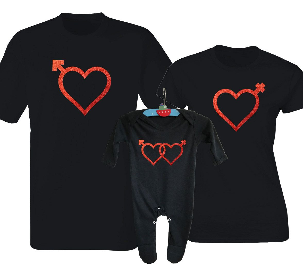 Valentine S Day Family Matching Black T Shirts And Baby Rompersuit