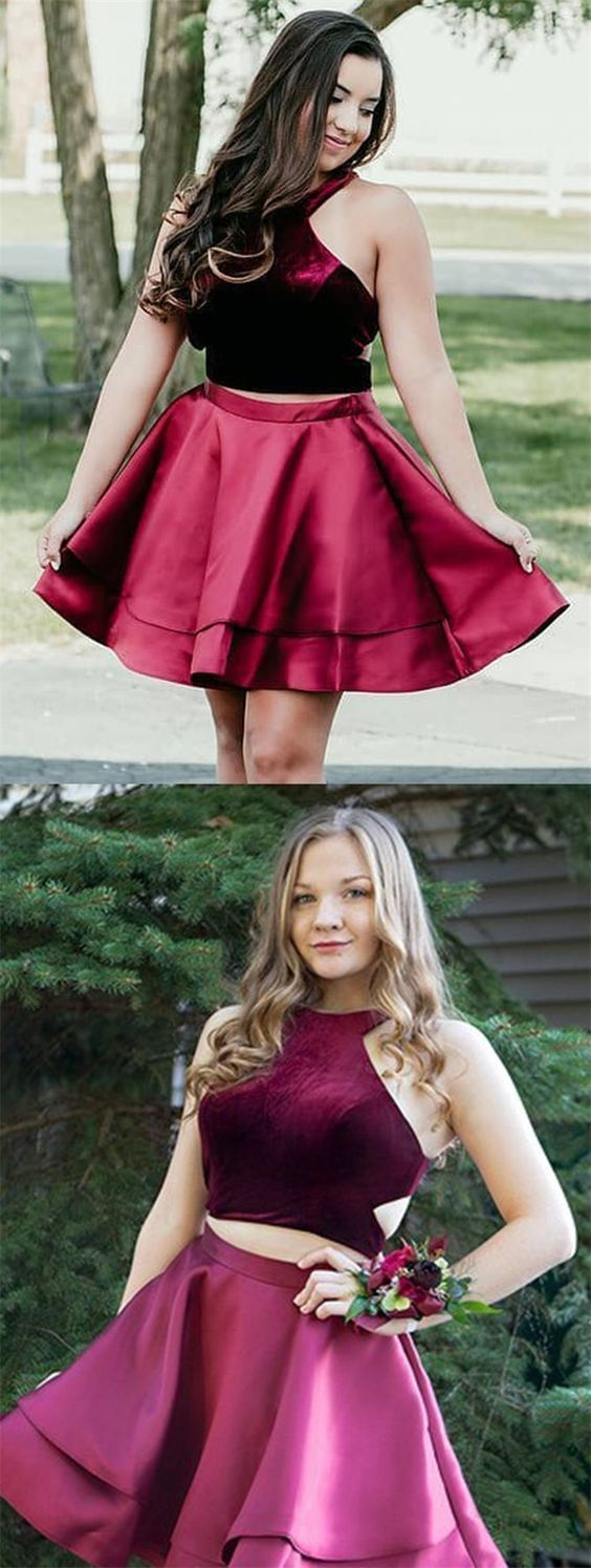 Two piece crew aboveknee burgundy cut out homecoming dress in