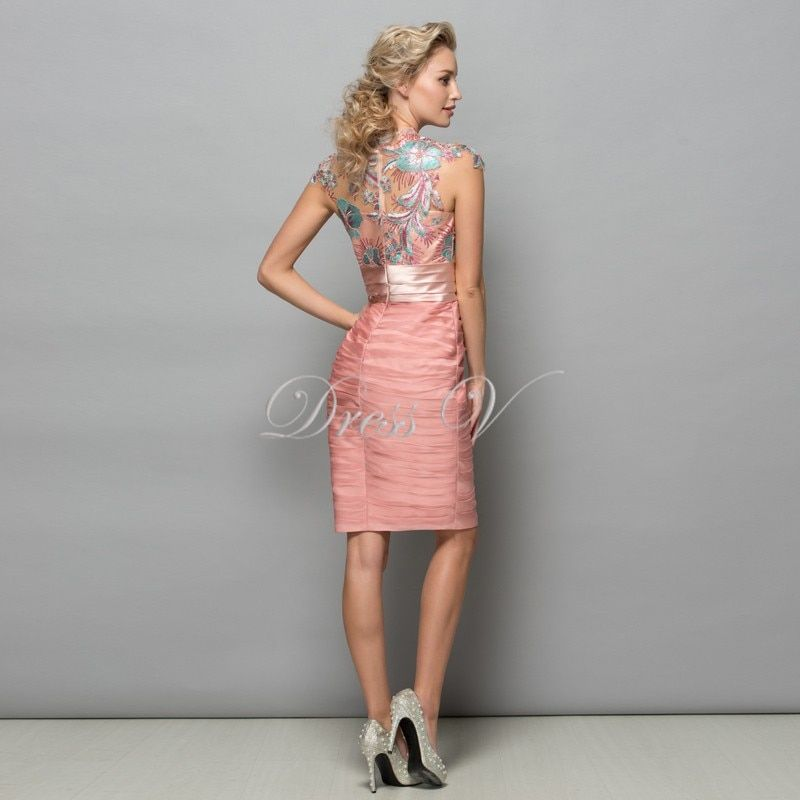 d0b9c8ff38 Dressv Pearl Pink Chiffon Short Cocktail Dresses 2017 Sequins Lace Knee  Length Women Prom Dress Designer Formal Holiday Gown free shipping worldwide