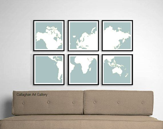 Crop & frame a world map.   World Map Fine Art Prints in Mist  6 Large by CallaghanArtGallery, $145.00
