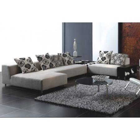 Modern Cream Fabric Sectional Sofa Set by Tosh | Living Room Furniture