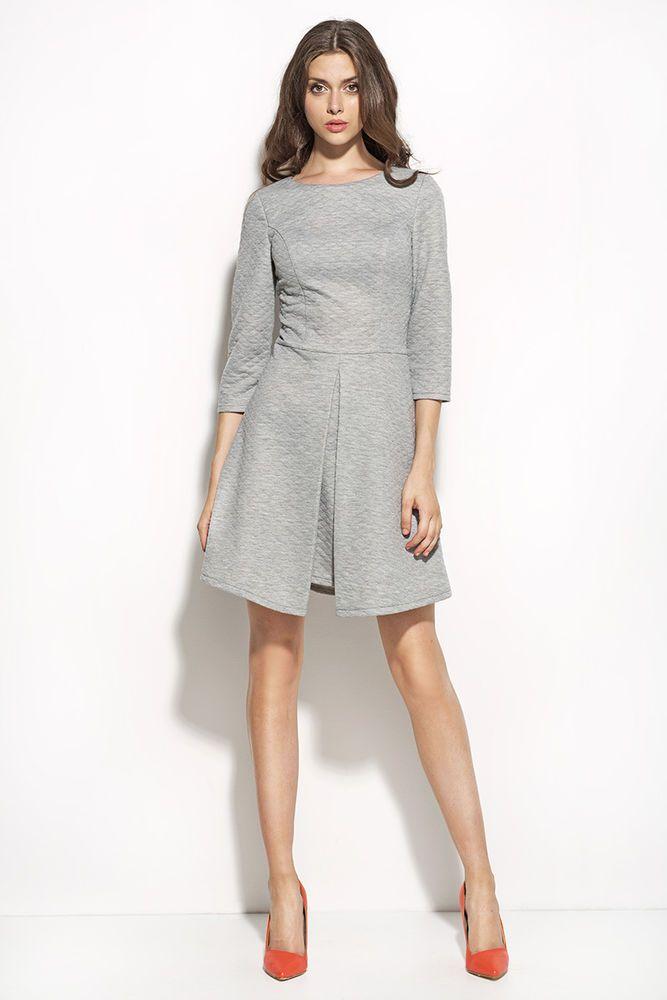 Robe Grise Femme courte trapèze plis Matelassée Taille 34 36 38 40 42 NIFE  S55 1c8cea45264