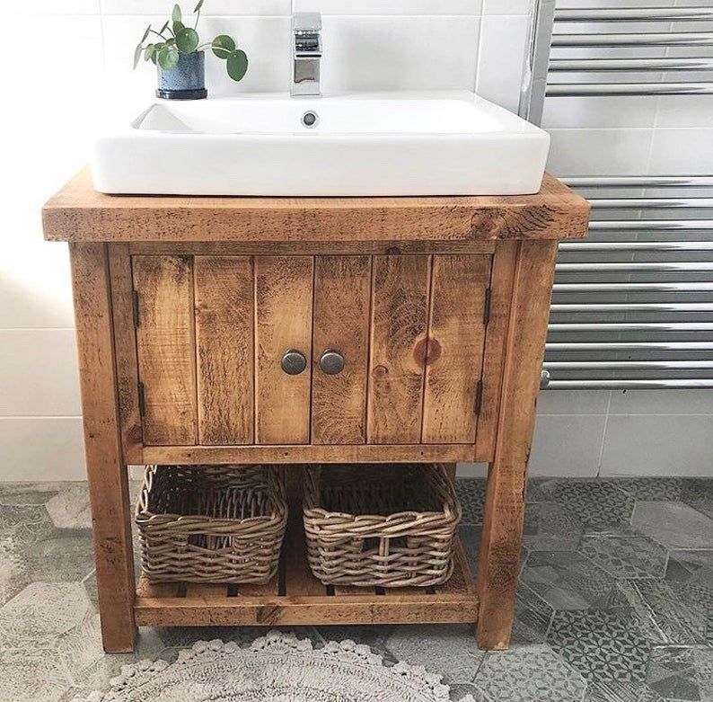 Rustic Chunky Solid Wood Bathroom Washstand Vanity Sink Unit Small 4 Sizes Not Included Sinks Taps Baskets In 2020 Wood Bathroom Raw Furniture Sink Vanity Unit