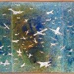 Alighiero Boetti, Aerei (cieli ad alta quota), 1989, acquarello e spray oro su carta fotografica intelata, 33 x 69 cm