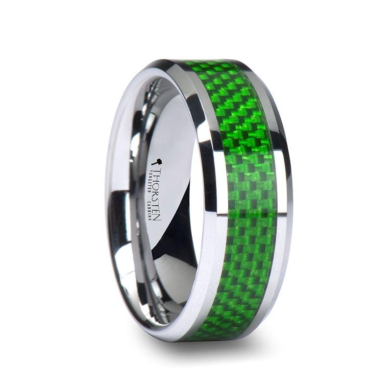 valentinus mens tungsten ring with emerald green carbon fiber inlay 8mm - Carbon Fiber Wedding Rings
