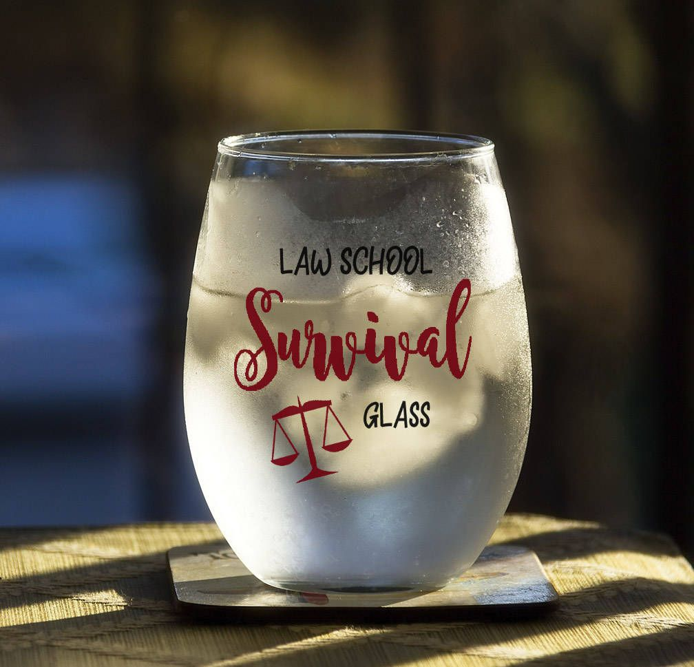 Attorney Student Gift Law School Survival Glass Funny Lawyer Birthday Present Paralegal