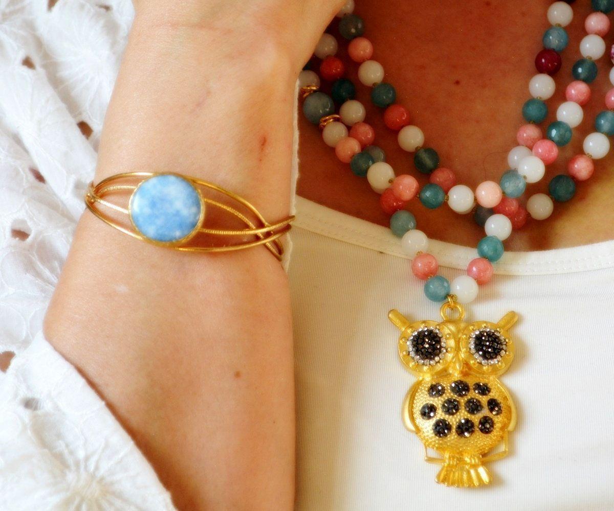 Photo of Goldene Eule Halskette blau Draht Armreif mehrfarbig Edelstein Halskette dre …