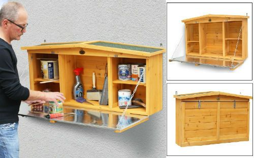 Details About Wooden Garden Tool Shed Wall Mounted Storage Box