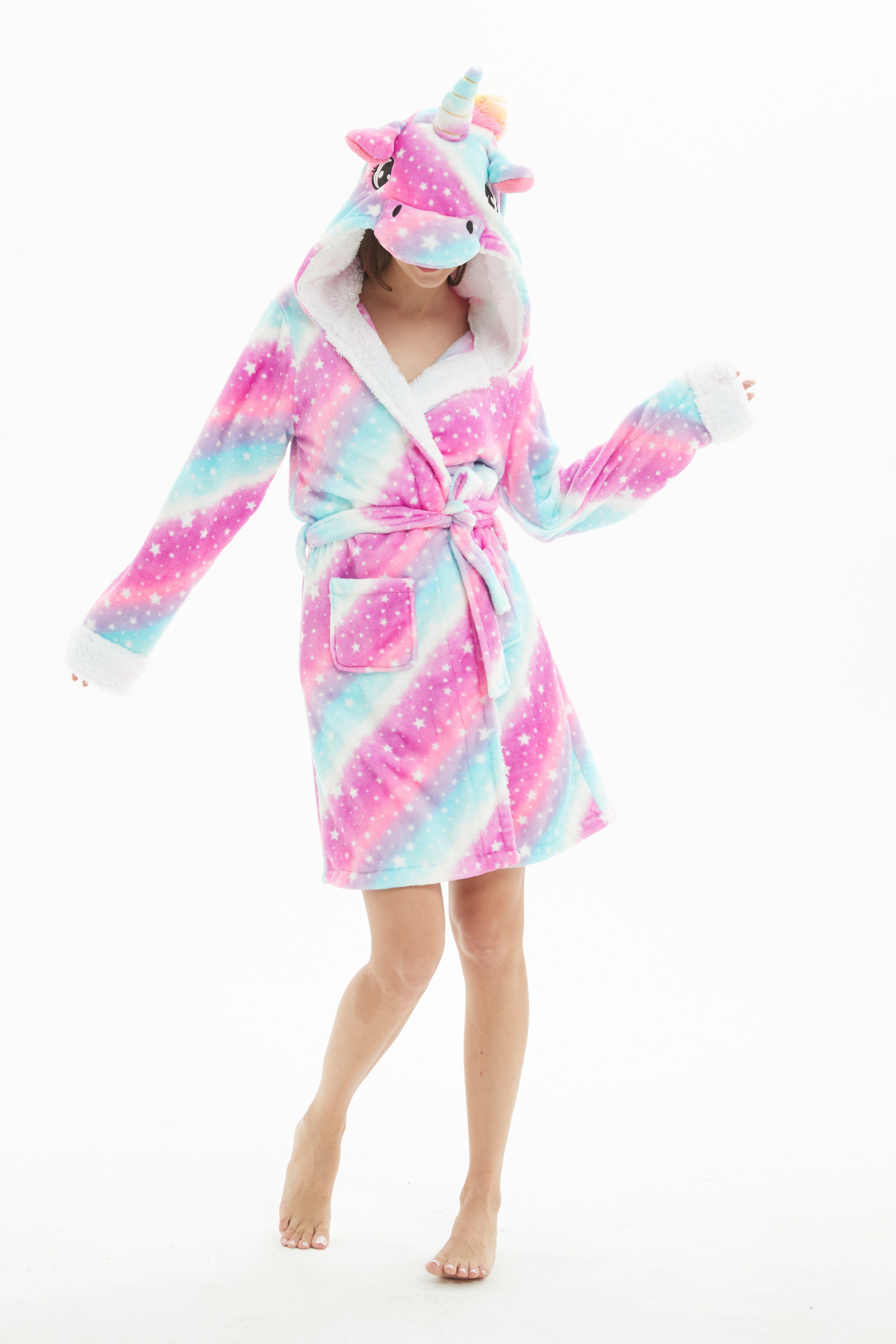 Purple Unicorn Bathrobe Animal Womens Hooded Robe Pajamas c3e04f066