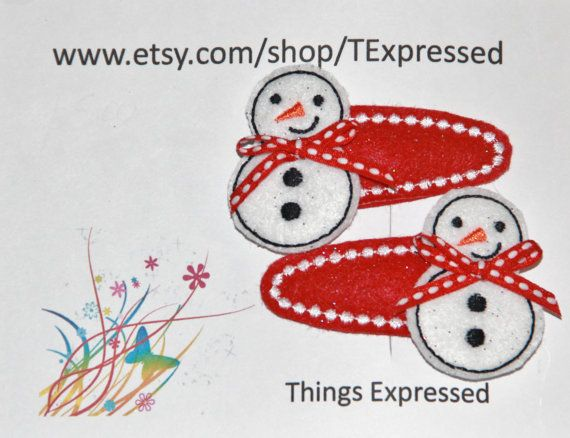 Snowman Hair Clip Set of Two Snap Contour Hair Clips by TExpressed, $5.00