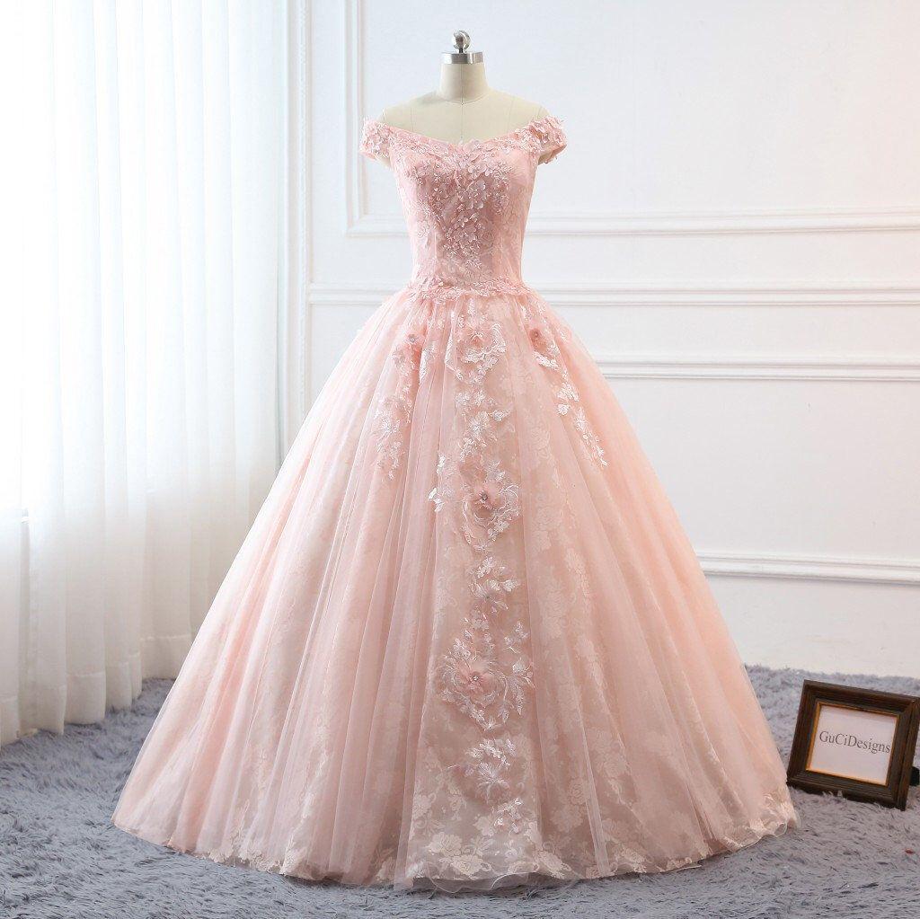Custom women light pink prom dress ball gown long quinceanera dress