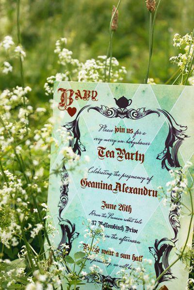 alice in wonderland party invitation inspiration | tea parties, Baby shower invitations