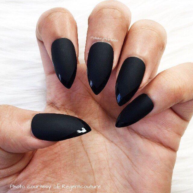 Attractive Matte Black Pointy Nails Crest - Nail Paint Design Ideas ...