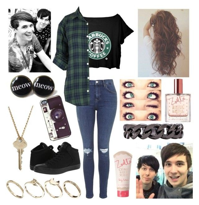 """Starbucks with Dan and Phil"" by youtube-crazy ❤ liked on Polyvore featuring Topshop, Converse, ASOS, Luv Aj, Veja, The Giving Keys, danisnotonfire, danhowell, amazingphil and phan"