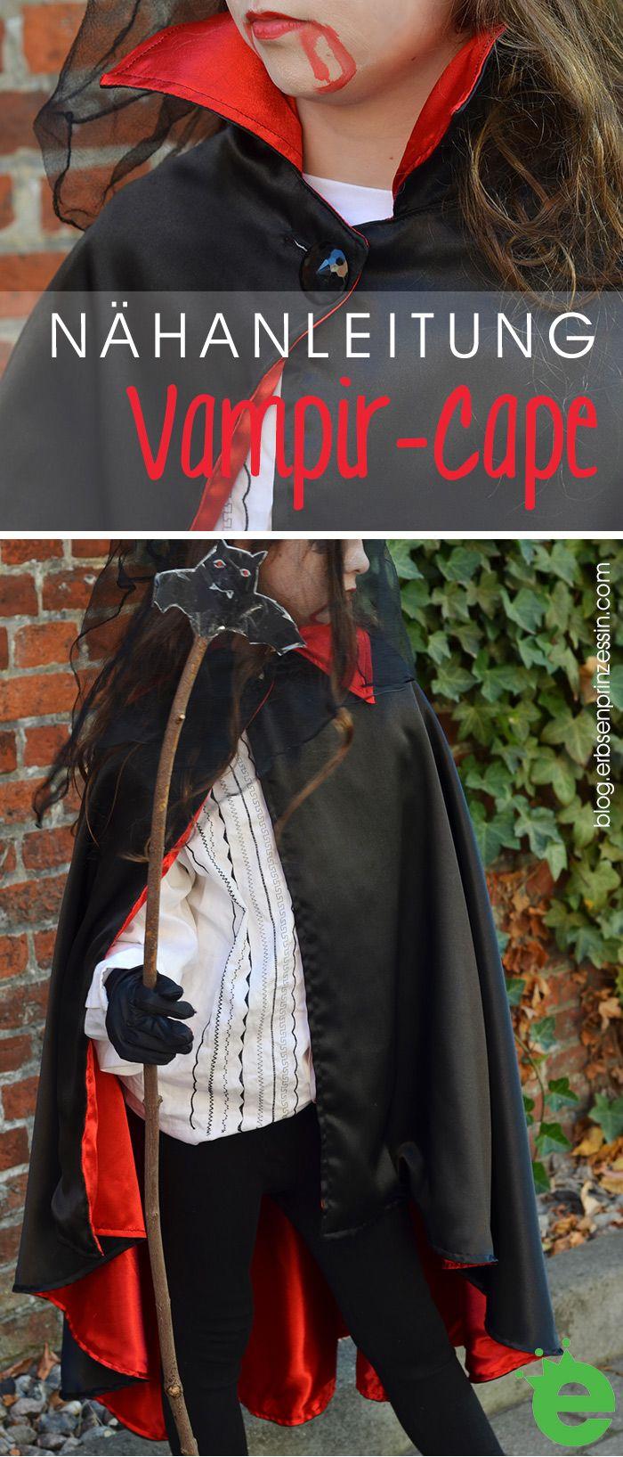Last-Minute Halloween-Kostüm: Vampirumhang nähen (mit Freebie: Schnittmuster für den Vampirkragen) - Erbsenprinzessin Blog