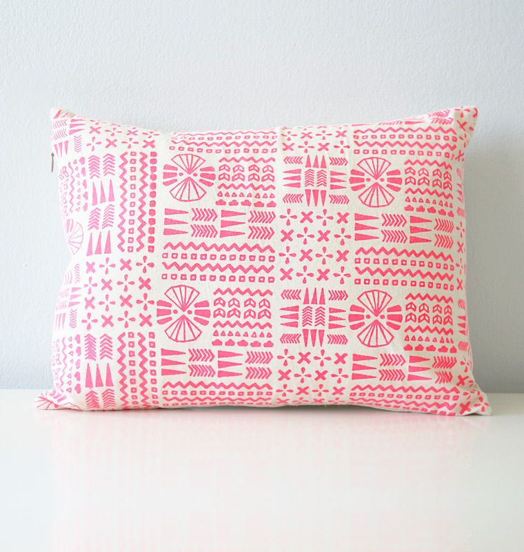 Printed Goods And Textiles Hand Crafted By The Wife And Husband Team Of Morgana And Gerren Lamson In Aust Screen Printed Pillow Hot Pink Pillows Pink Pillows