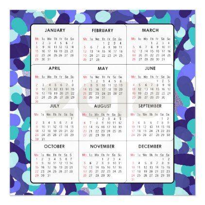 2018 Calendar Square Magnetic Blue Dots Magnetic Card Invitation - event calendar