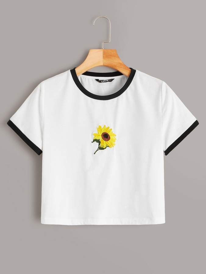 Shein Embroidered Sunflower Ringer Tee in 2020 | Casual t ...