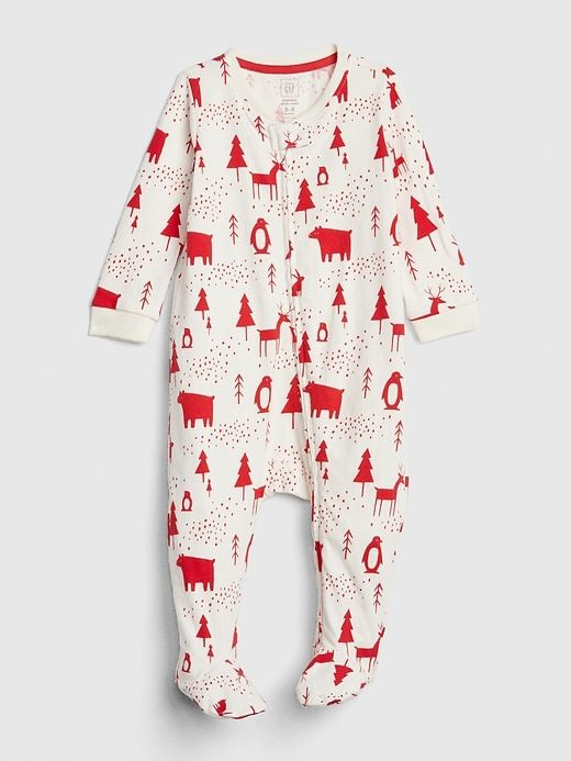 574570b1ac07 Gap Baby Organic Print Footed One-Piece Ivory Frost