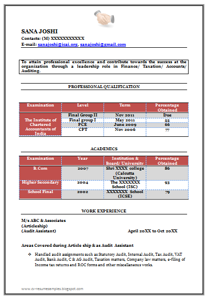 Fresher Chartered Accountant Resume Sample Template For