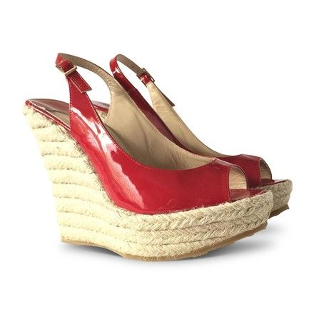 b1f496d57f6 These Jimmy Choo Red New Polar Patent Leather Jute Espadrille - Wedges Size  US Regular (M