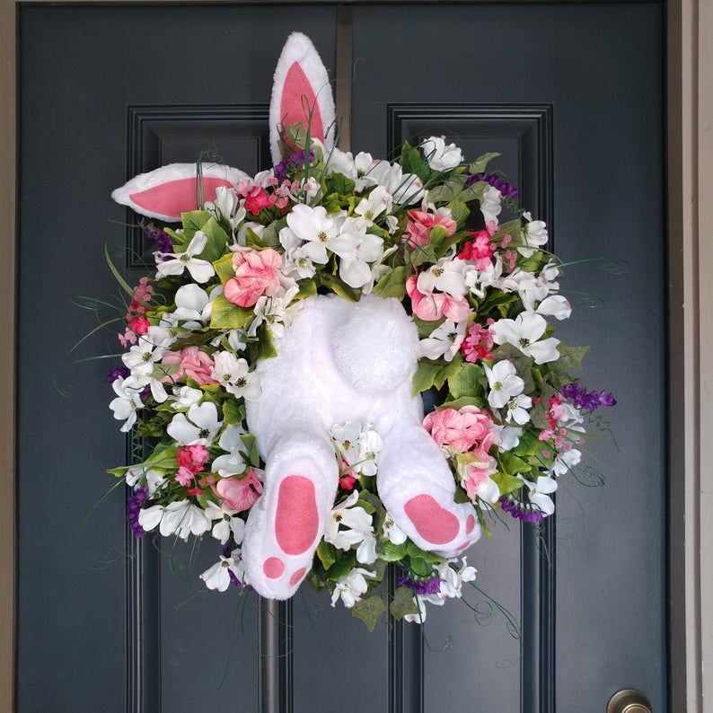 Photo of Spring Easter Bunny Wreath, Boxwood Summer Wreath , Front Door Wreath , White Boxwood Door Decor, Grapevine Wreath , House Warming Gift