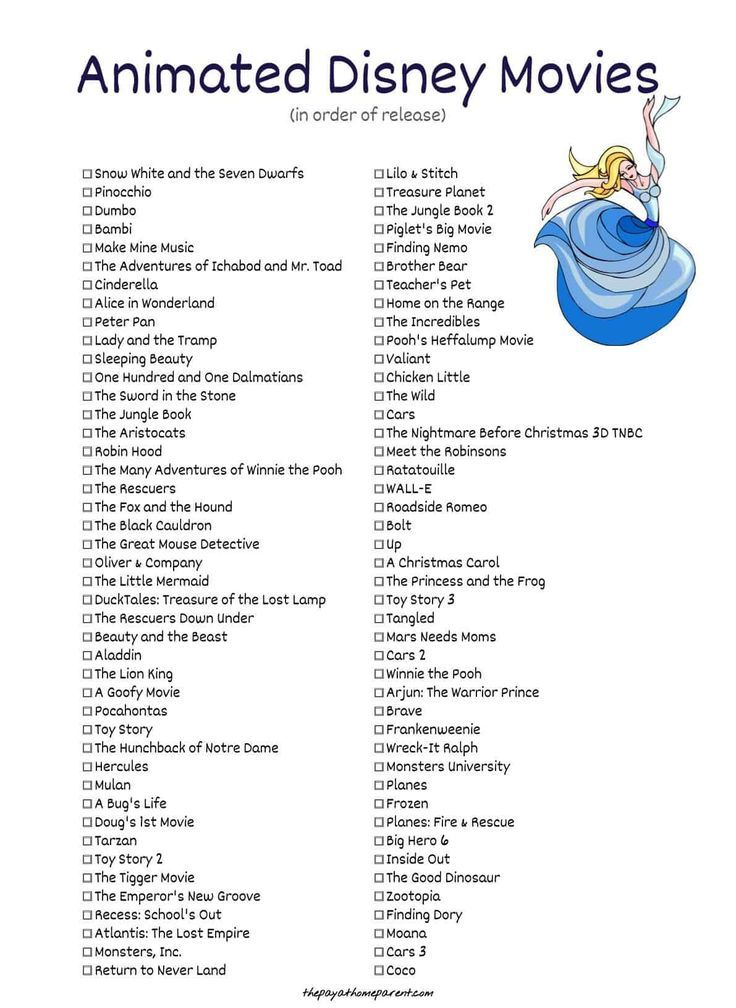 Free Disney Movies List of 400+ Films on Printable Checklists