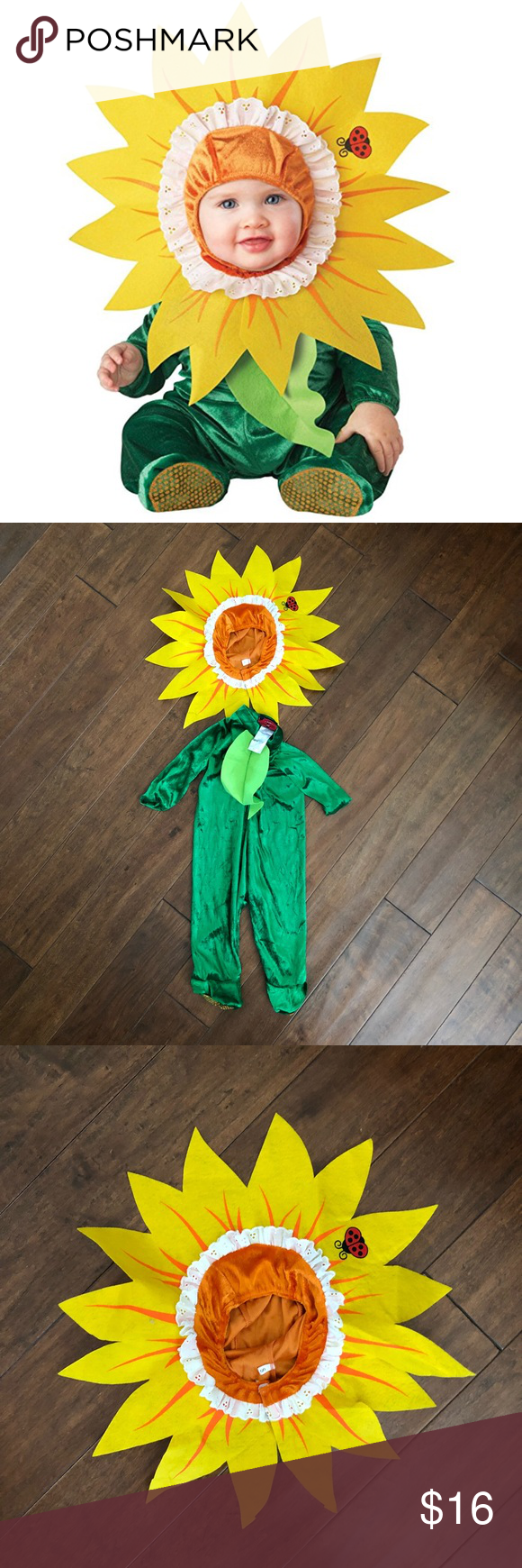 2d801189f1b3b Sunflower Baby Costume Size Small (6-12 months) Infant Silly Sunflower  costume includes