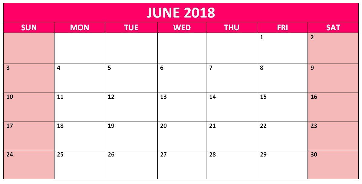 June 2018 Blank Template Planner Calendar 2018 Templates