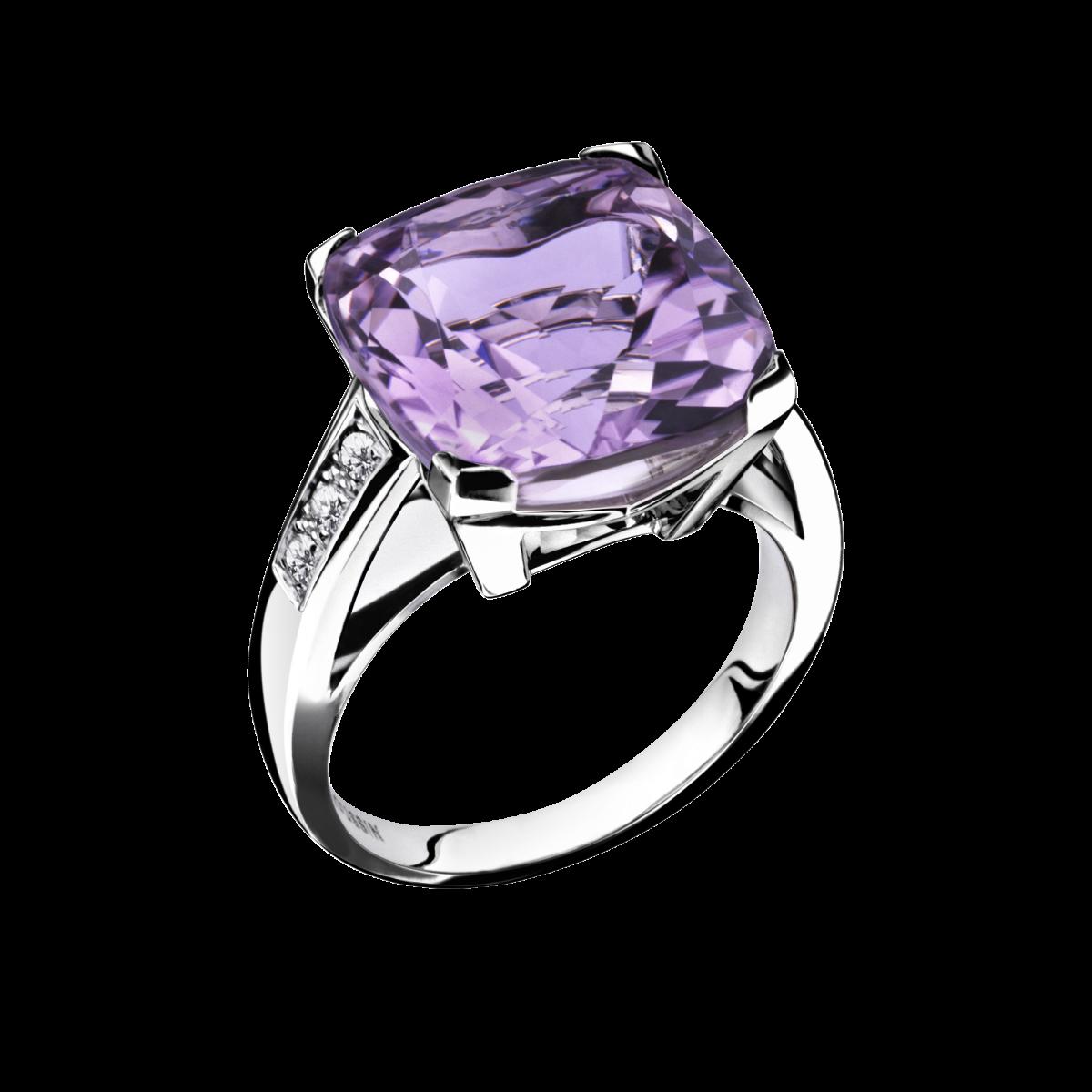 bague or blanc avec pierre violette