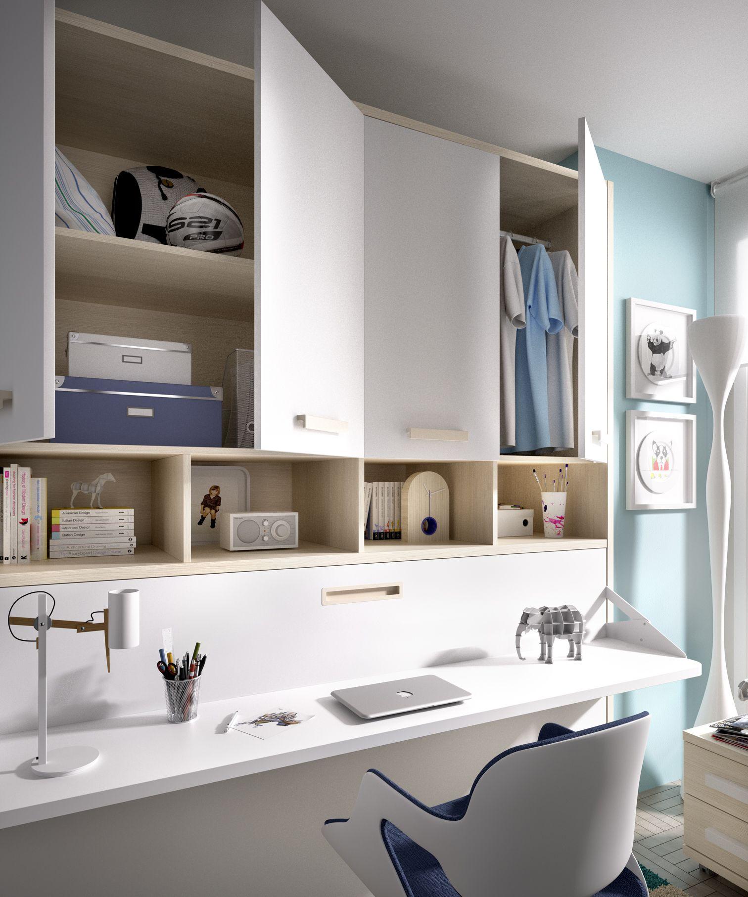 Cama Plegable Con Armarios Superiores Camas Para Dormitorios  # Muebles Poco Espacio