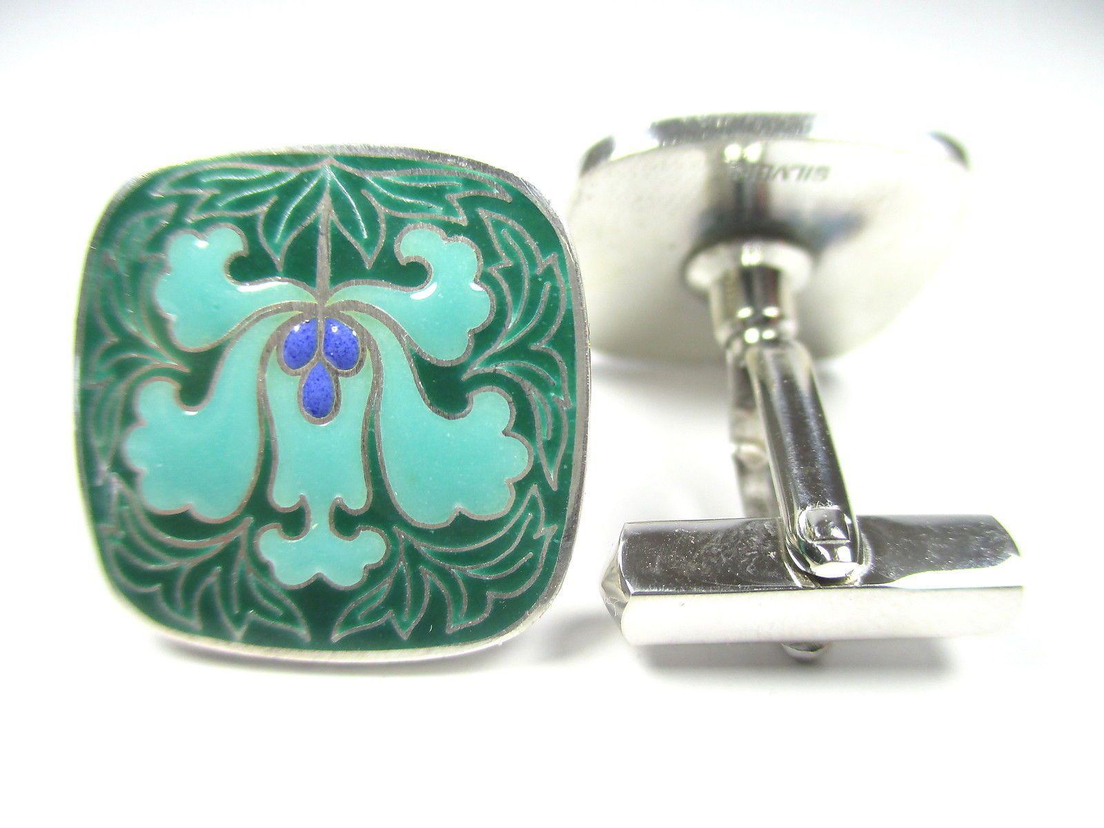 Silber Manschettenknöpfe Jugendstil Dekor Emaille Modernist 70er yy N4 2