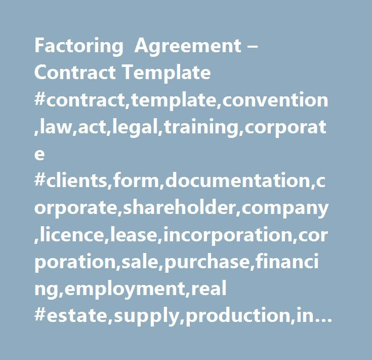 Factoring Agreement u2013 Contract Template #contract,template - sales agreement contract