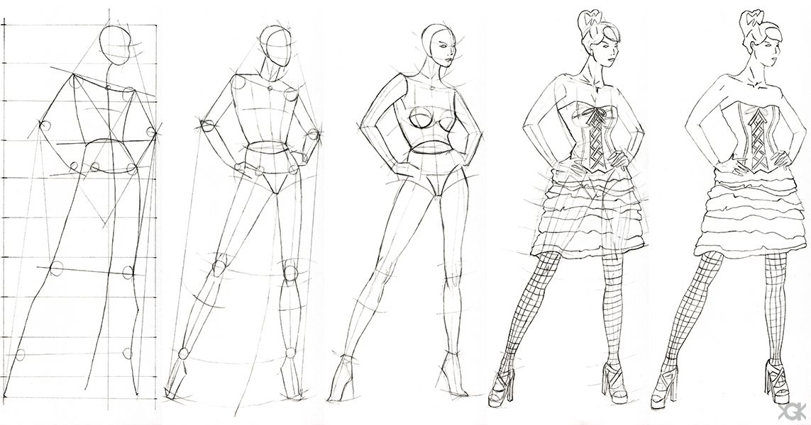 Sketch Of Fashion Design Step By Step By Vegakavgk On Deviantart Figures Drawing Figure Drawing Tutorial Person Drawing Drawings