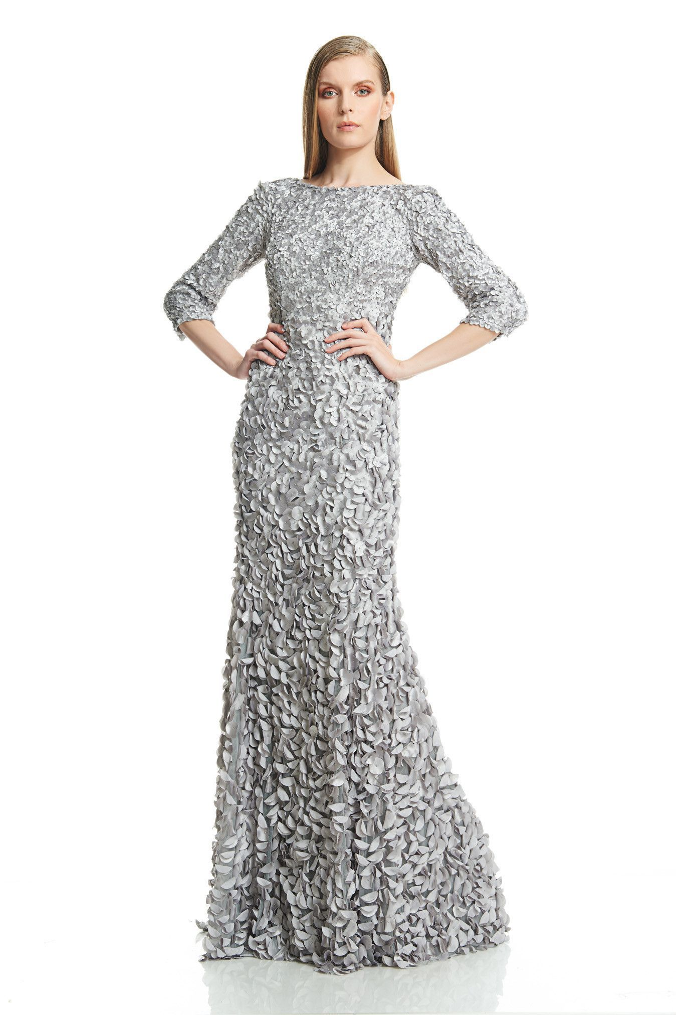 Theia Petal-embellished Satin Gown - Nickel | Products | Pinterest ...