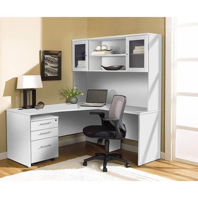 The 100-Series 4-Piece Right L-Desk In White Offers So
