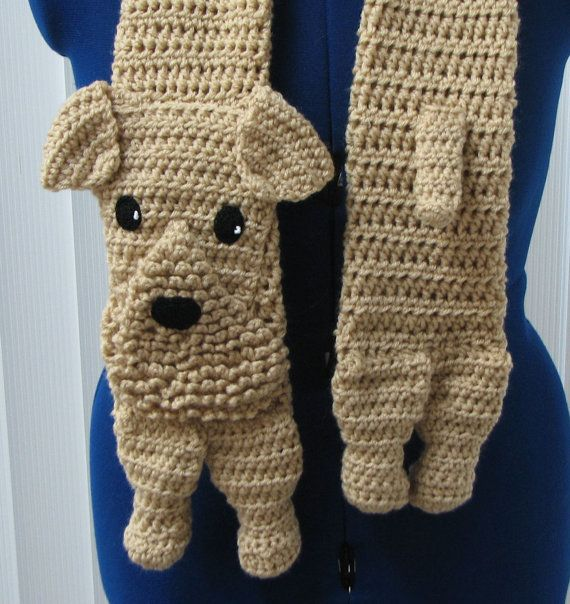 Crochet Pattern - Airedale Dog Scarf Pattern - Airedale Terrier ...