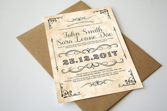 Vintage Wedding Invitation By Party Flyers On Graphicsauthor