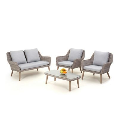 grey rattan-effect 'palmira' garden sofa, coffee table and 2