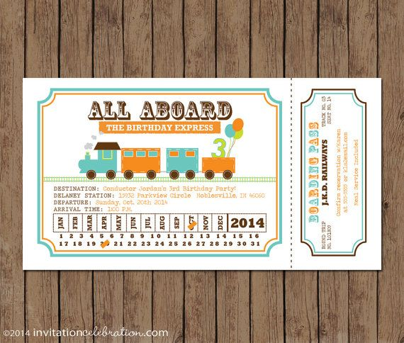 Train Ticket Invitation Birthday All Aboard door InvitationCeleb - ticket invitation