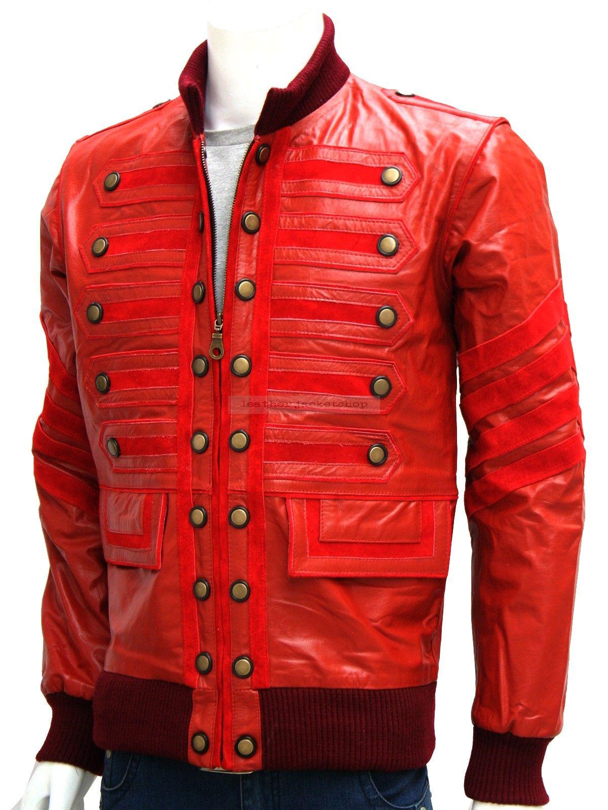 Military Maroon Men Leather Biker Jacket Men Cool